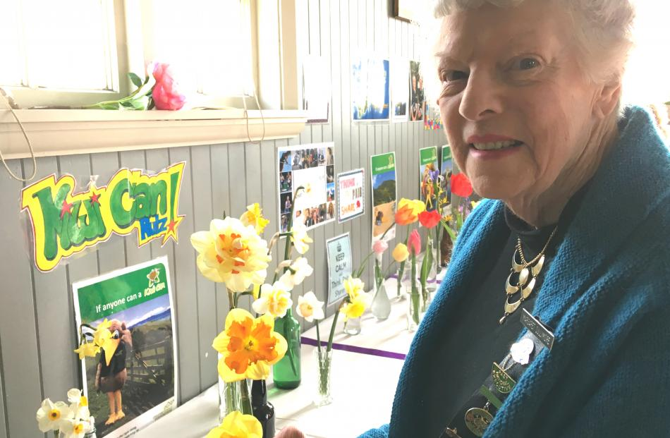 Wakanui WI member Margaret Cullimore with her three different daffodils entry for competition. She also competed in knitting and baking sections.