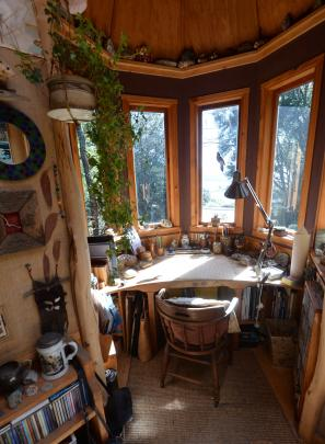 Blueskin Bay can be glimpsed from the desk under the turret in Mr Melvin's studio.
