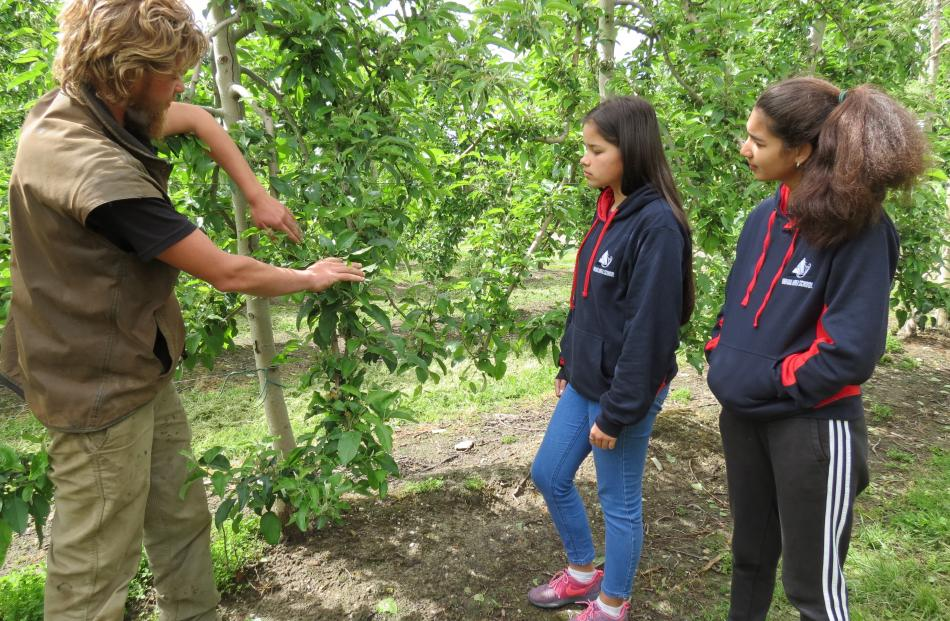 Pupils Angela Pierce (16, left) and Tekoa Mangion (15) learn about orchard management.