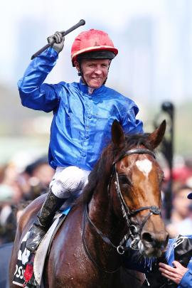 Kerrin McEvoy, riding Cross Counter, celebrates his win in the Melbourne Cup yesterday. Photo: Getty Images
