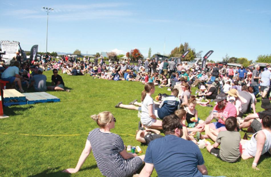 Fisherfolk waiting for the competition results at Te Anau Sportsground on the Sunday afternoon....