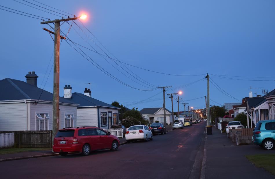 Old high-pressure sodium streetlights in Melbourne St earlier this week. Photos: Gregor...