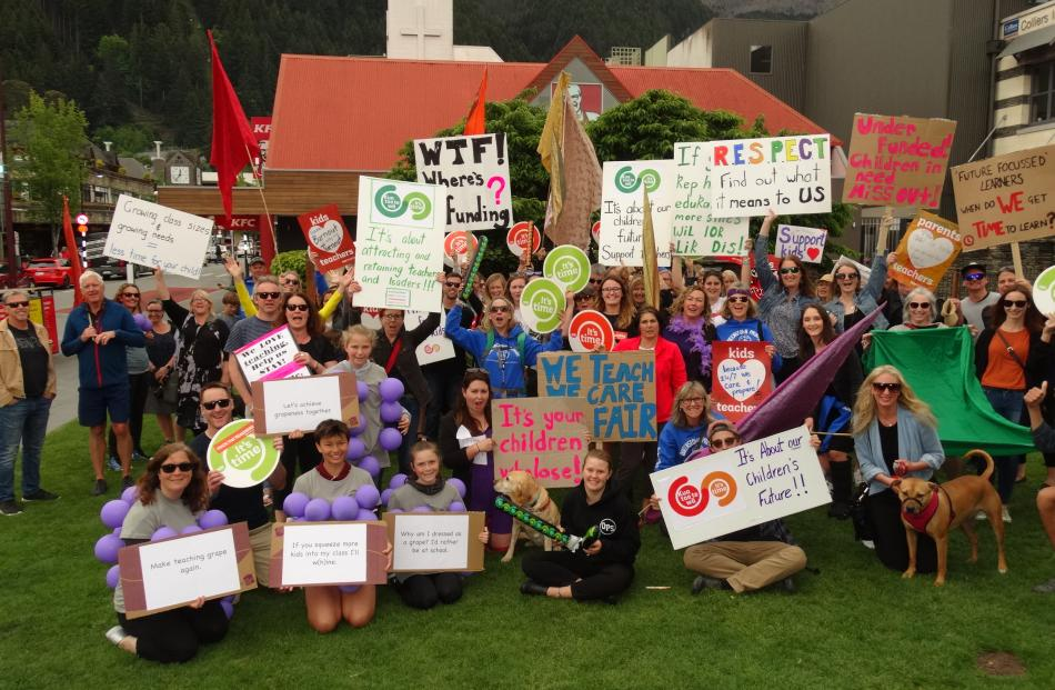 Wakatipu teachers gather on the Village Green after a protest march through central Queenstown....