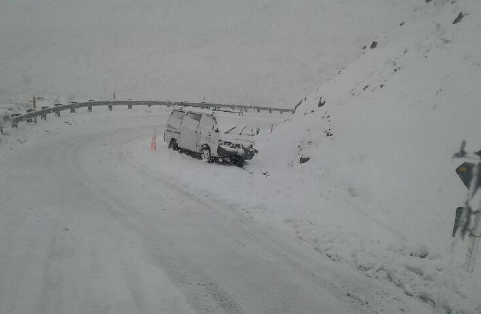 A vehicle stuck on the Crown Range Road linking Queenstown and Wanaka. Photo: QLDC