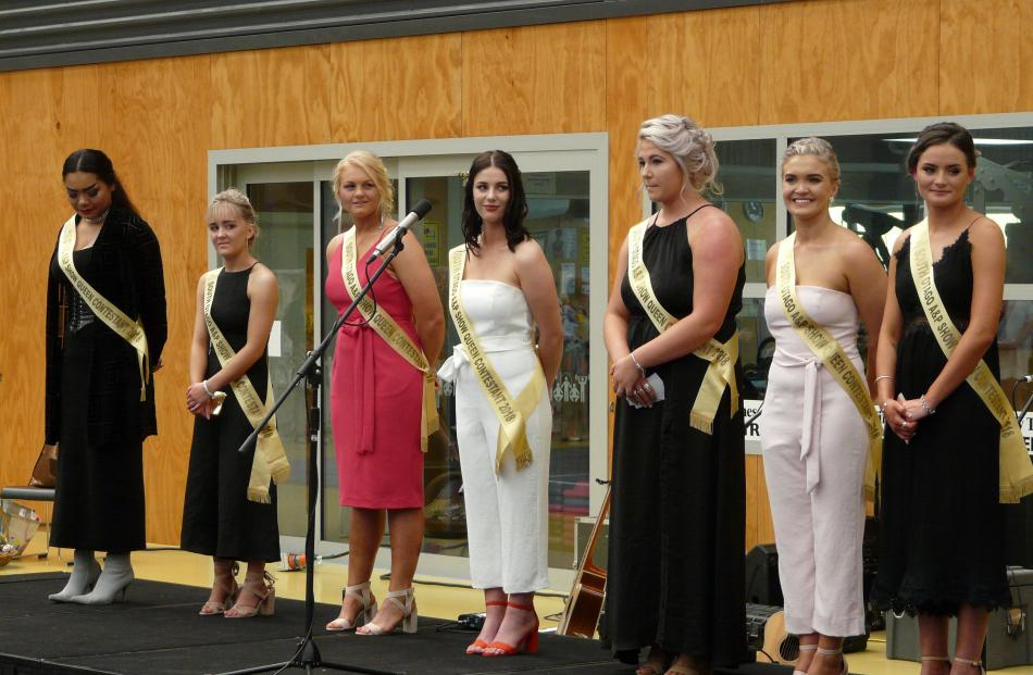 South Otago A&P Show Queen contestants await announcement of the 2018 winner at Saturday's show. ...