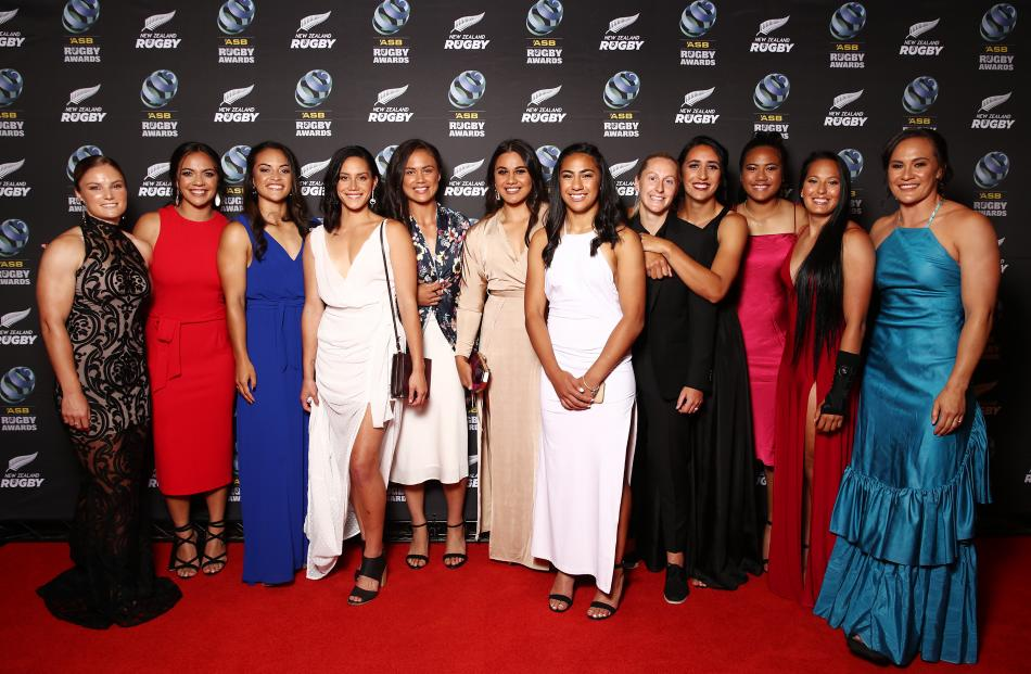 Members of the Black Ferns Sevens, New Zealand Rugby's team of the year. Photos: Getty Images