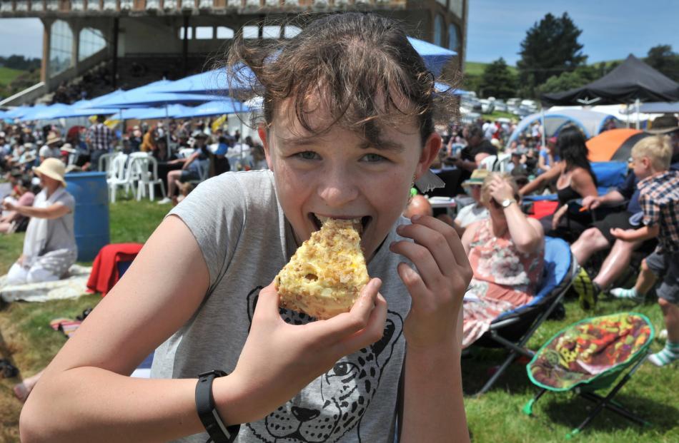 Emma Pain (12), of Dunedin, celebrates her birthday with cake.