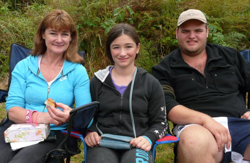 Yvonne and Nikita (11) Maulgue, of Christchurch, and Nick Stewart, of Invercargill.