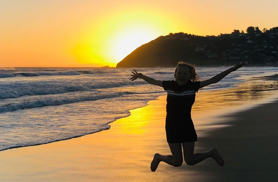 Jamila Fraser (12) at St Clair beach. PHOTO: TRACEY FRASER
