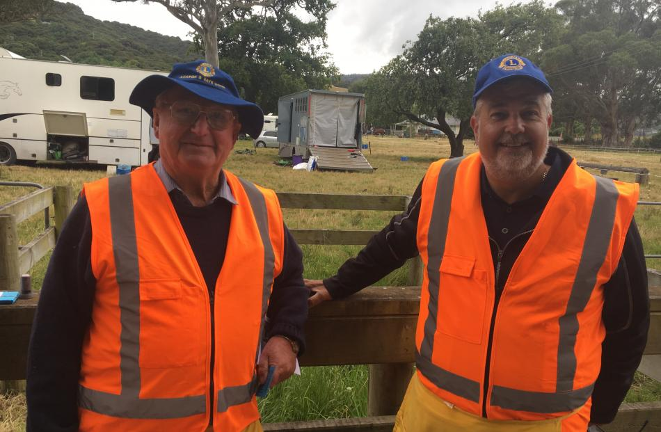 Tom Macfarlane (left) and Charl Chaney, from the Akaroa Bays Lions Club on gate duty at the...