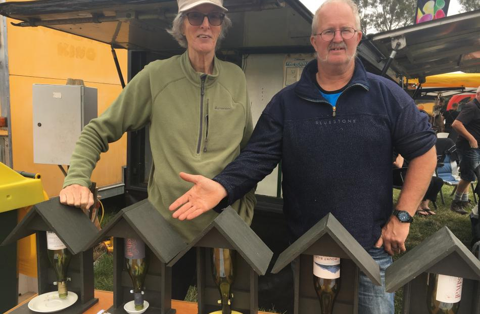 Akaroa Men's Shed members Rich Sales (left) and Paul Newport were on duty selling bird feeders...