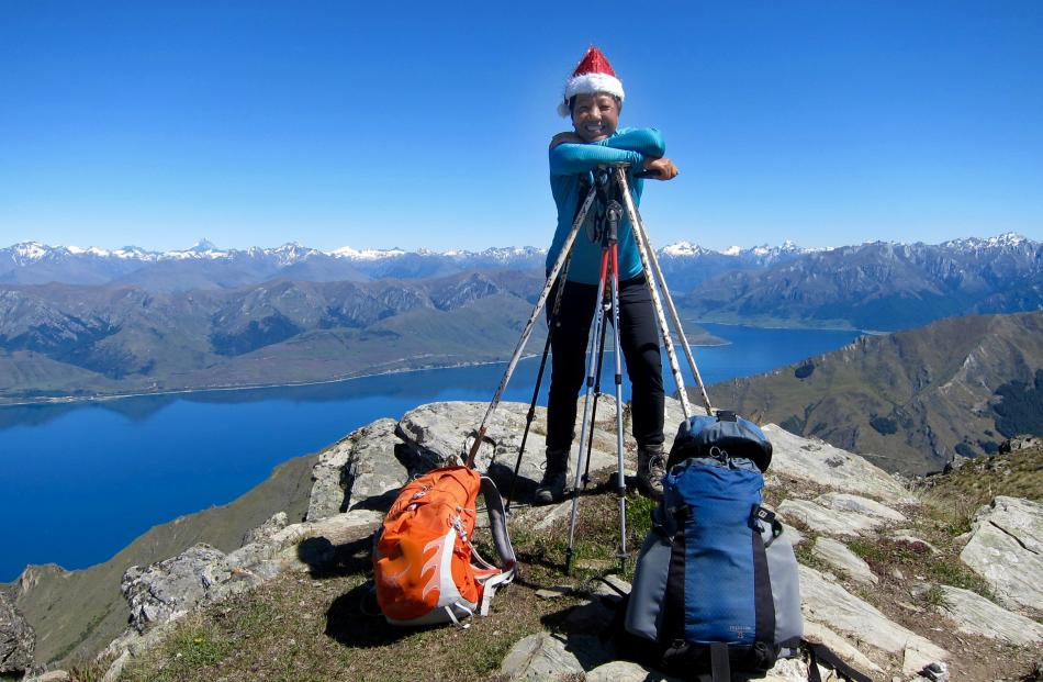 Nora Hastings at the top of Breast Hill, east of Lake Hawea, on Christmas Eve. Photo: Bob Daultrey