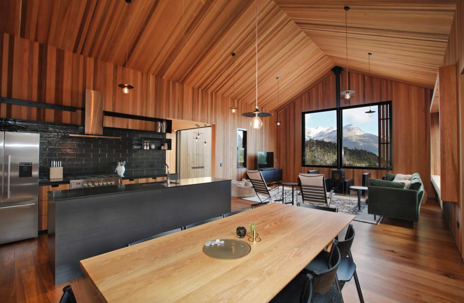 Completing the cedar-lined walls and ceilings was a labour of love for the builders.