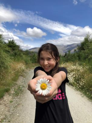 Gabrielle Mendelsohn (11), of Arrowtown, was tickled by the pretty wild daisy she found while...