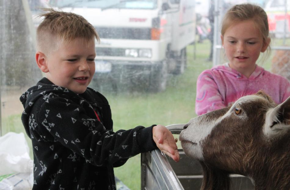 Brody  (7) and Chelsey Duncan-Rose (10), of Invercargill, get up close to a goat at the petting zoo.