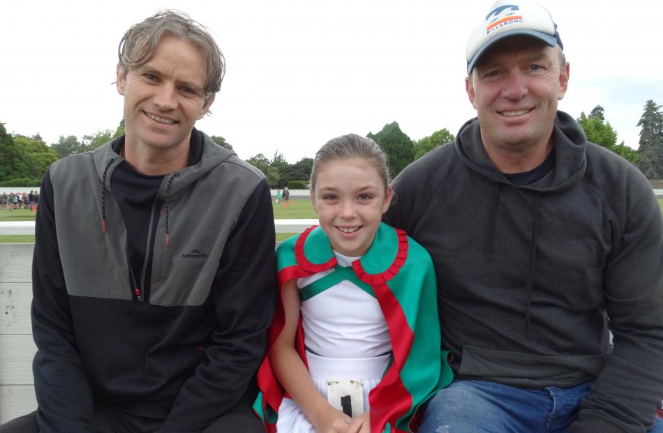 Ryan Fraser, Lucy (10) and Mike Mavor, of Oamaru.