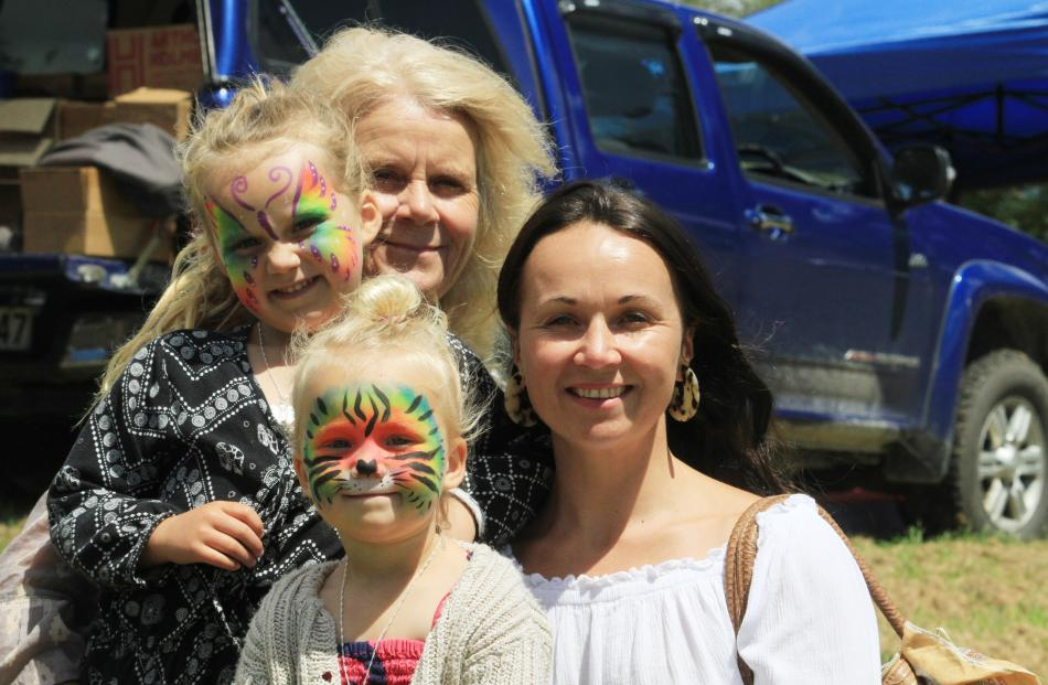 Olive (5) and Ivy (2) Newton, of St Clair, with grandmother Sally Henderson, of Seacliff, and...