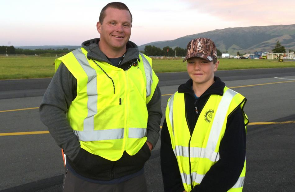 Stu Casey and his son Nick (12), of Outram.