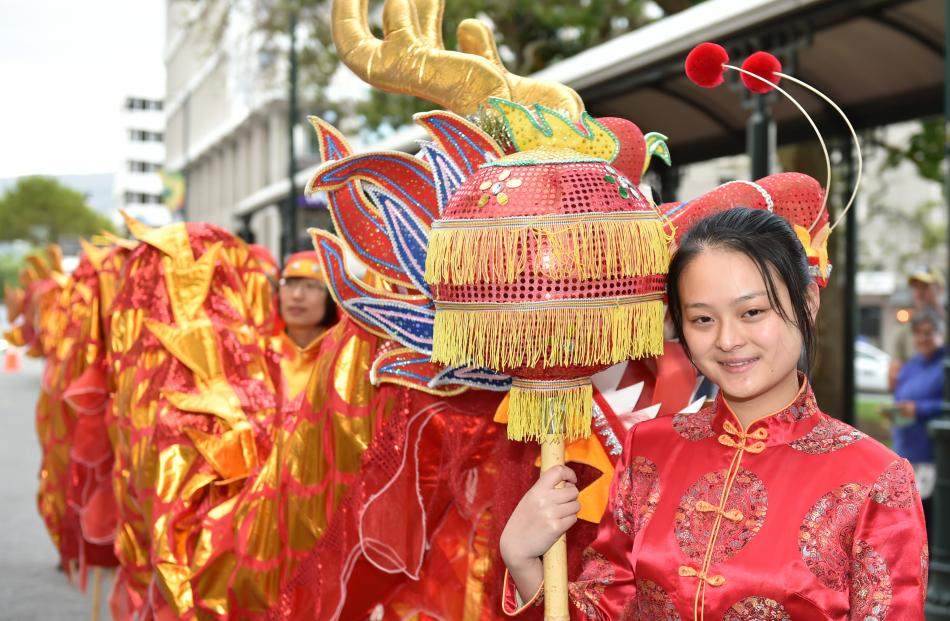 Cindy Chou (15), of Dunedin, with the Dragon Ball, part of the Chinese New Year celebrations that...