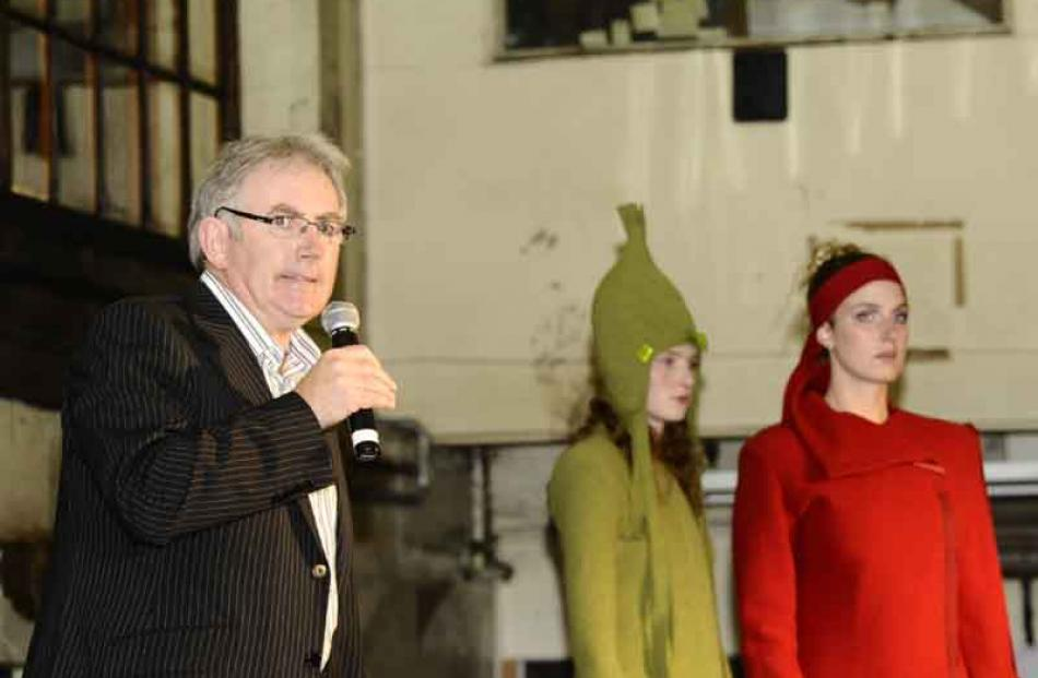 Paul Dwyer, advertising executive for the ODT, speaks at the opening of ID Fashion Week in the...