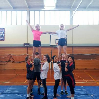 School programmes: Kavanagh College students learn to stunt.