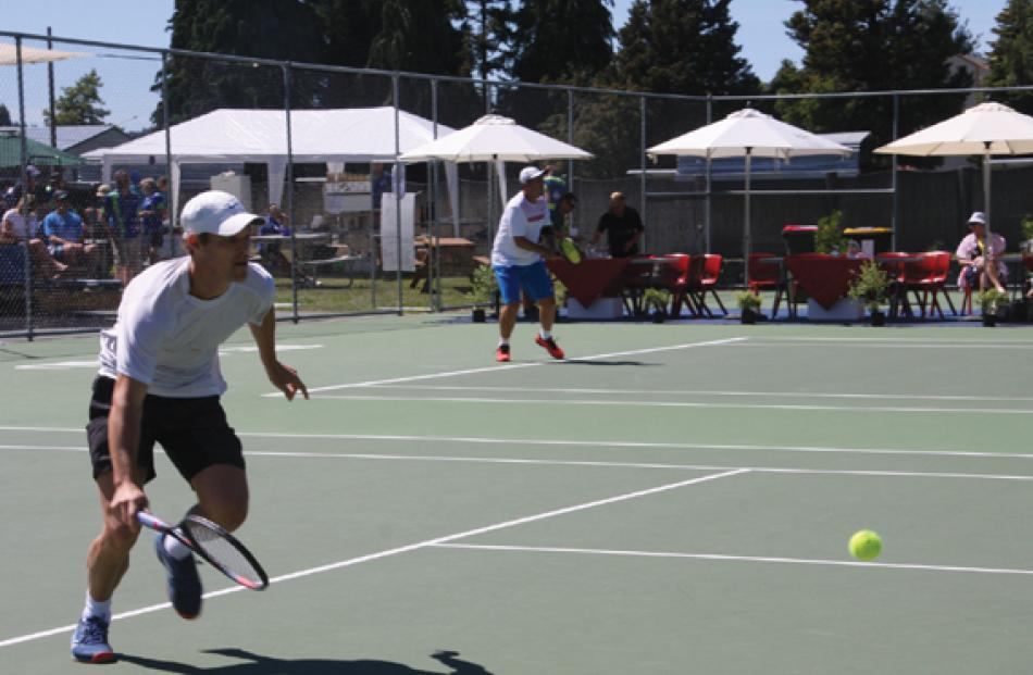 Finn Tearney (foreground) in action against Kiranpal Pannu on the first day, retiring in the...