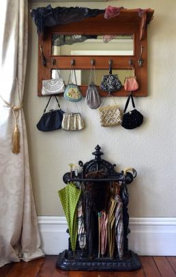Beaded purses hang in the hall.