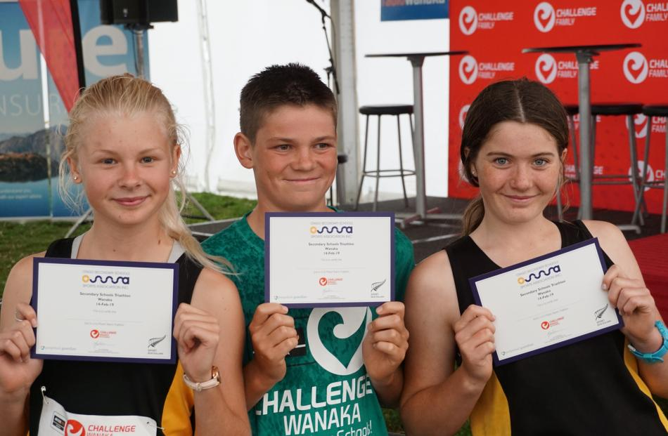 The second-placed team in the under-16 mixed teams category is (from left) Jazz Edwards, Cooper...
