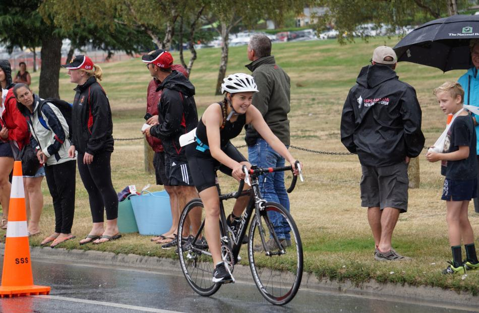 A bit of rain and wind was not an issue for Eve Bogue, of Wakatipu High School.