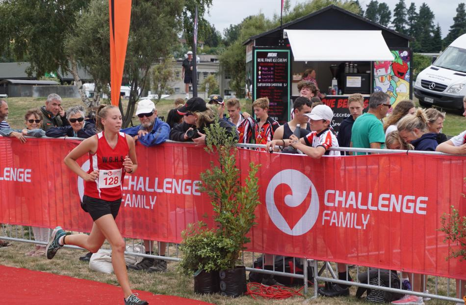 Metres from the finish line is Lily Rawson, of Waitaki Girls' High School.