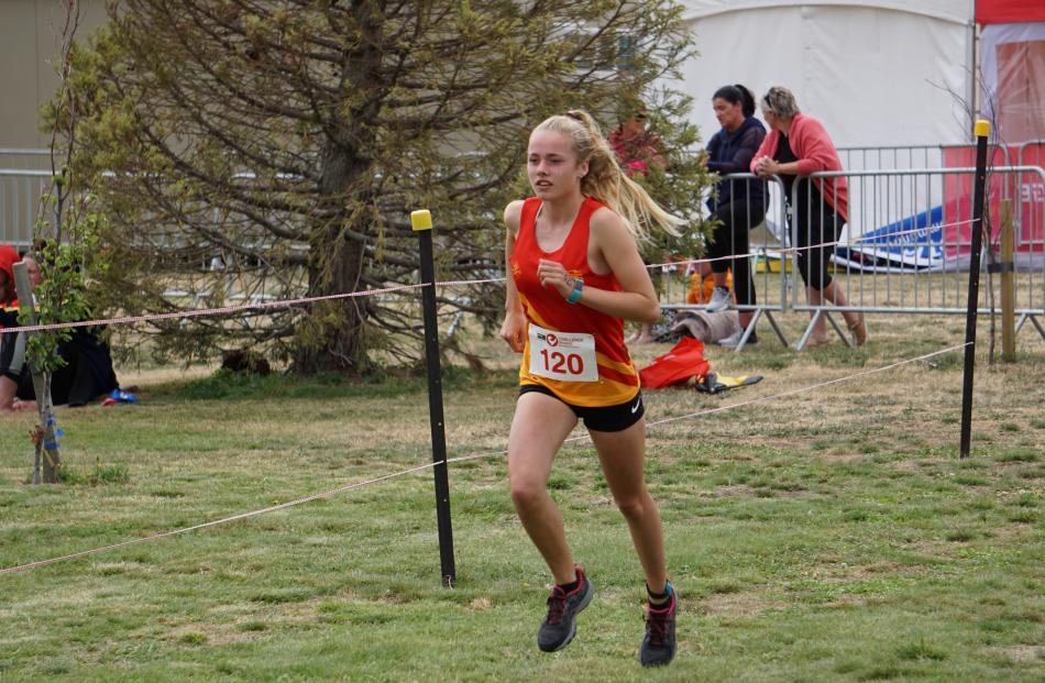 Getting into her stride is Emily Hay, of James Hargest College.
