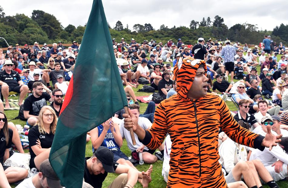 Not afraid to show his allegiance, Nazmul Islam, of Dunedin, donned a tiger costume and cheered...