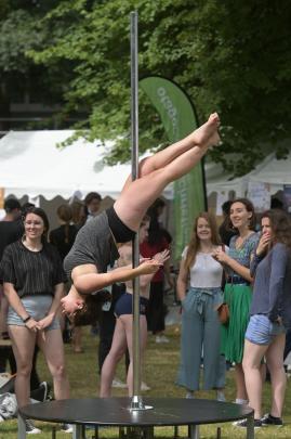 Rosie Sullivan, of ``Pole with Val'', demonstrates her skills. PHOTO: LINDA ROBERTSON