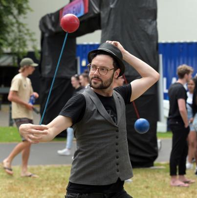 Joel Cunningham, of the Dunedin Fire and Circus Club, swings his poi. PHOTO: LINDA ROBERTSON