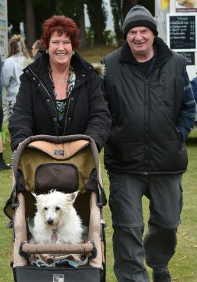 Glenys Robertson and Kevin Bryson, both of Mosgiel, and Glenys' 14-year-old dog Roxy.