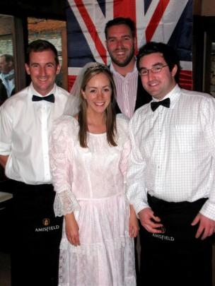 Bride for the night Clair MacDonnell with her Amsifield colleagues (from left) Gavin Lewis Tom...