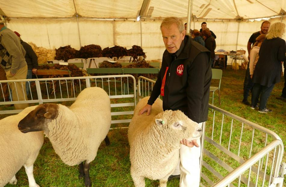 Graham Calder with his Hall Genetics Southdown ram which won the Supreme Sheep of the Show award. Photos: Ken Muir