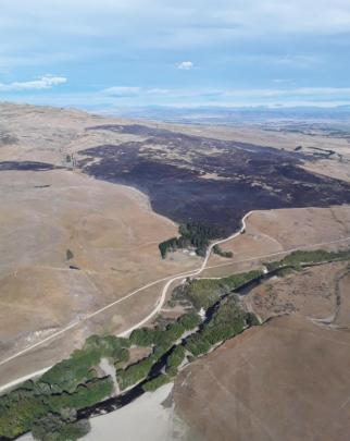 Charred tussock and scrubland seen from the air. Photo: Supplied