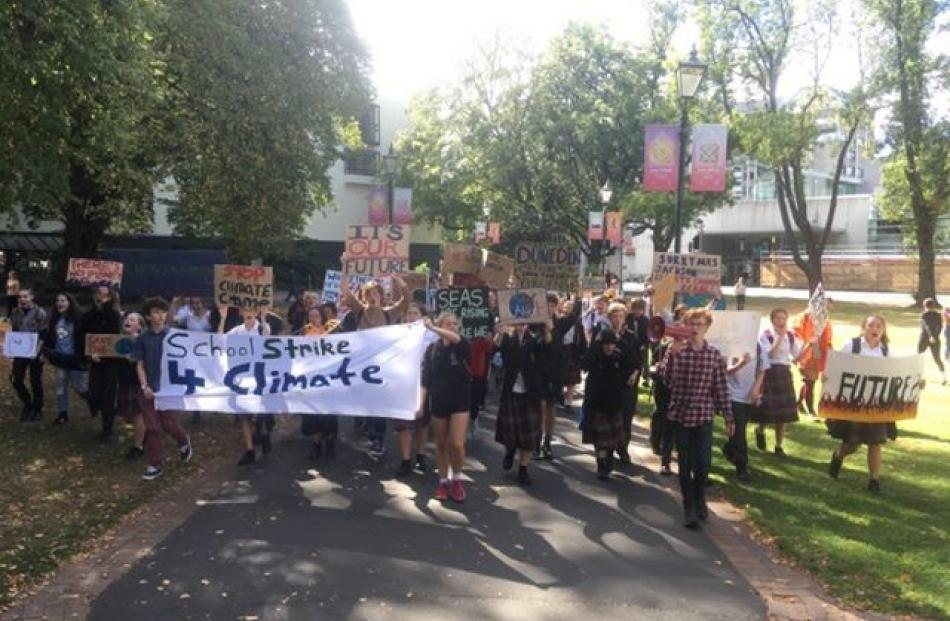 Protesters have gathered around the region today to march for School Strike 4 Climate. Photo: Jono Edwards