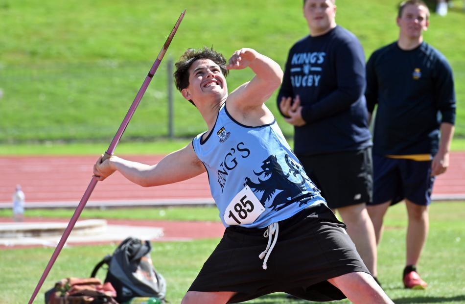 Tainui Little, of King's High School, prepares to throw the javelin during the senior boys' event...