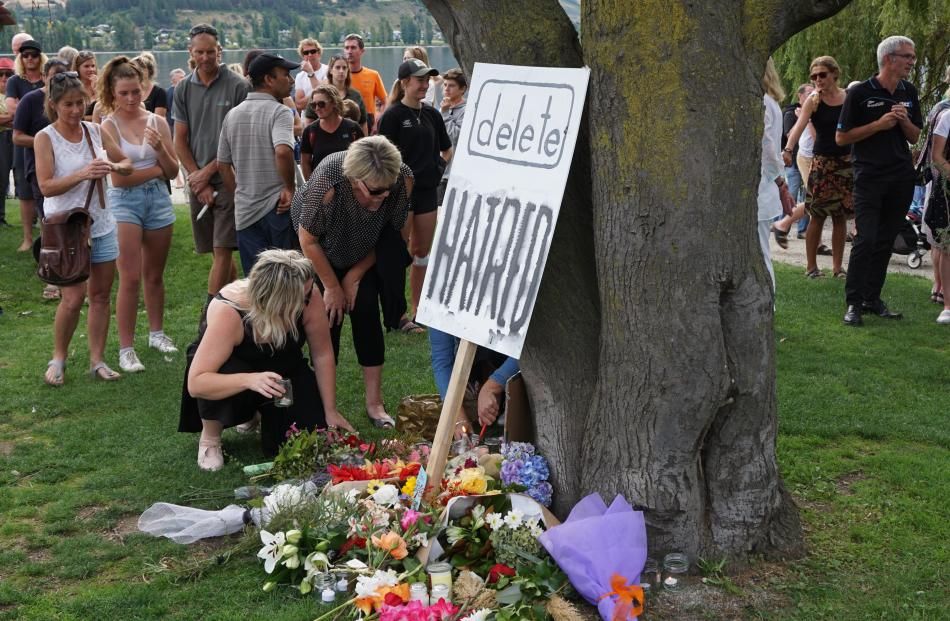 Over 1500 people gathered at the Wanaka lakefront this evening for a vigil to commemorate the lives lost in the Christchurch mosque attacks. Photo: Sean Nugent