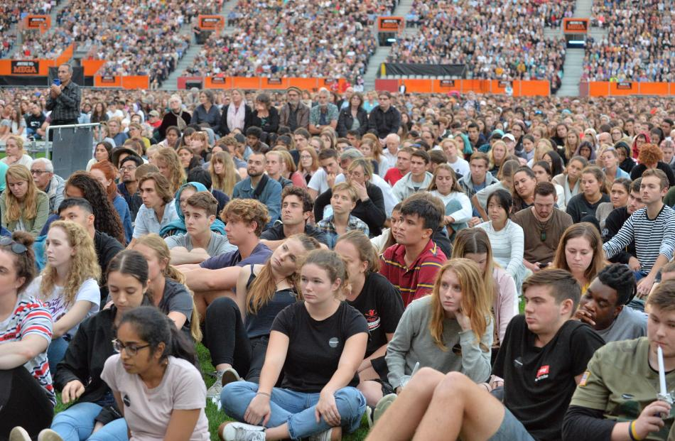 About 15,000 people have gathered at Forsyth Barr Stadium in Dunedin tonight for the Christchurch terror attack vigil. Photo: Gerard O'Brien