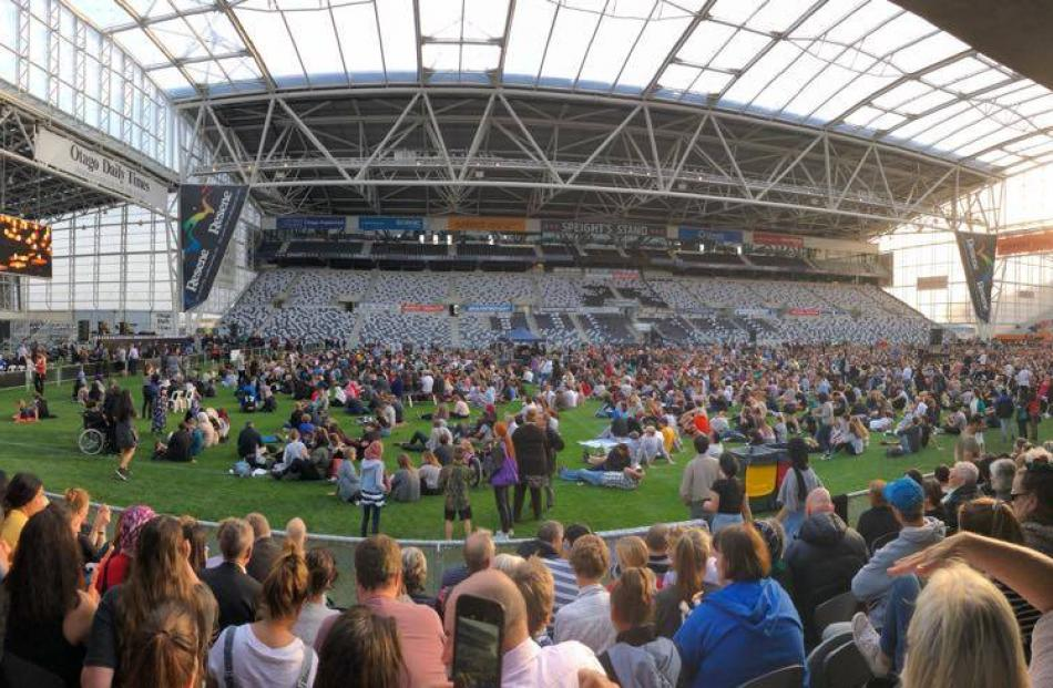 About 15,000 people have gathered at Forsyth Barr Stadium in Dunedin tonight for the Christchurch terror attack vigil. Photo: Chris Morris