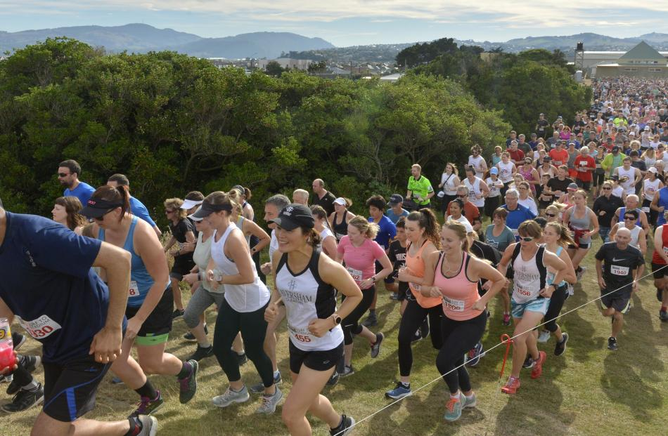Competitors in the Surf to Stadium Fun Run and Walk in Dunedin yesterday. PHOTOS: GERARD O'BRIEN