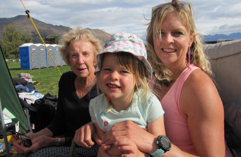 Kathleen Sutherland, Billie Moss (4) and Gwen Hendry, all of Wanaka.