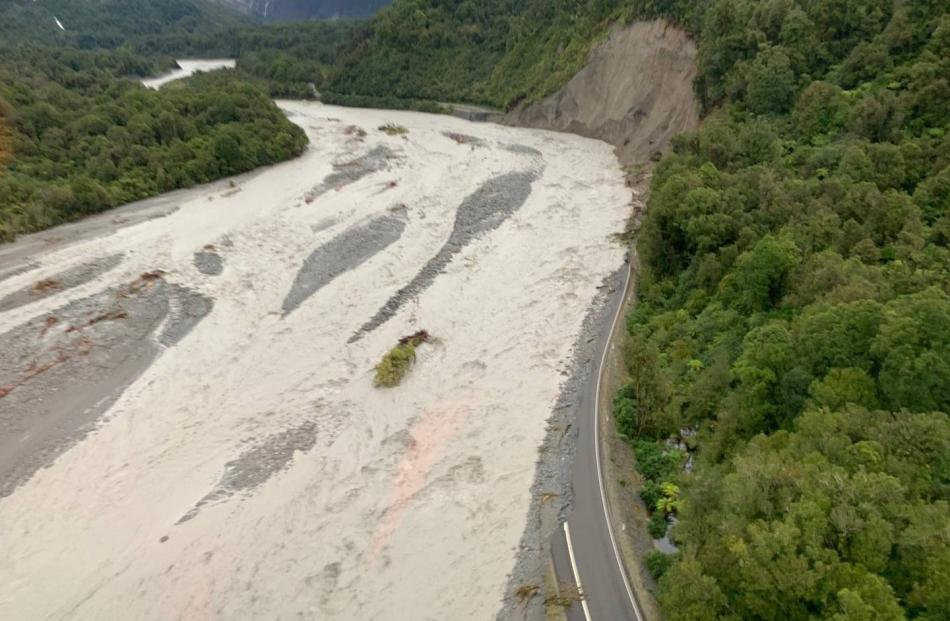 The washed away chunk of highway. Photo: Wayne Costello, DOC