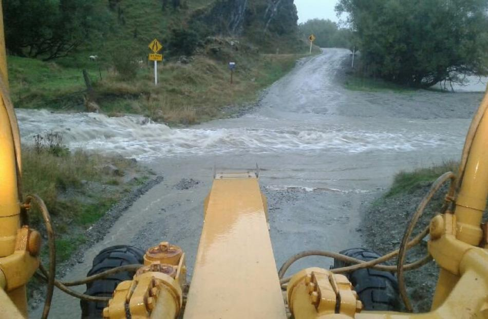 The often dusty gravel portion of Mt Aspiring Rd, from Wanaka to the Mt Aspiring National Park,...