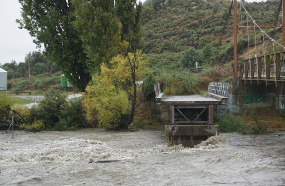 The Matukituki River was swollen yesterday afternoon after heavy rain in the area. PHOTO: SEAN...