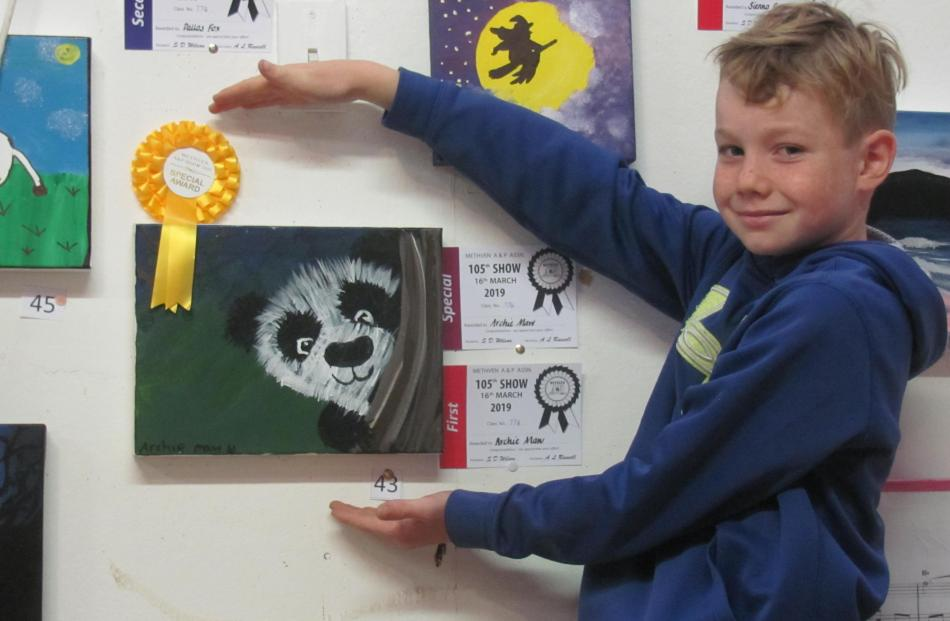 Archie Maw (9) won first place and got special award for his painted panda artwork at the Methven A&P Show. Archie had many other entries in the home produce shed, including his lunch box fruit kebab, which was awarded first place. Photos: Toni Williams