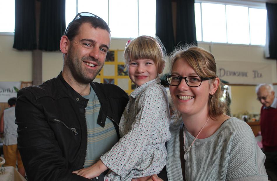 Adrian, Carys (5) and Renee Buddle, of Invercargill